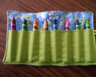 Turkish delight flowers paisley blue white limegreen crayon roll up 8 count