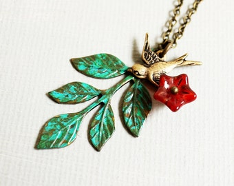 Leaf Necklace. fall autumn leaf necklace. sparrow necklace. patina green leaf with flying bird. fall nature jewelry. leafy branch necklace
