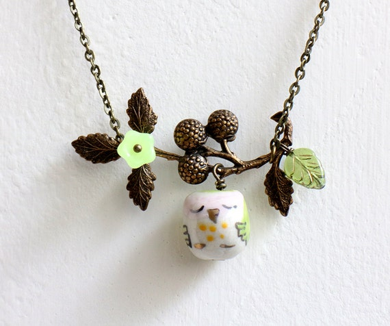 Sleepy Owl and Berry Branch  Necklace. lemon green porcelain owl with antique brass berry branch. owl on tree. woodland owl