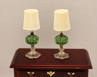 Miniature Matching Table Lamps scale Dollhouse Decor Green Mid Century White Shades