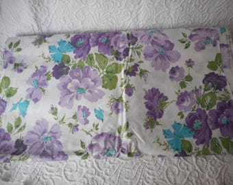 "Polished Cotton Vintage Floral Print Fabric-Purple/Green/Turquoise-8 Yards M/L-45"" width"