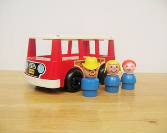 Vintage Fisher Price Red Mini-Bus and Passengers