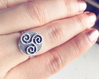 Triskelion Ring / Adjustable Antique Silver Celtic Symbol Merlin BBC Inspired Cosplay Costume TV Series Show Renaissance Faire Tribal Gypsy