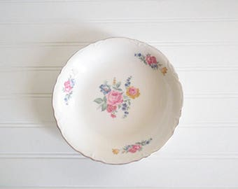 Scio Pottery Bowl Vintage China Serving Bowl Hazel Pattern Ohio Shabby Cottage 1940s China
