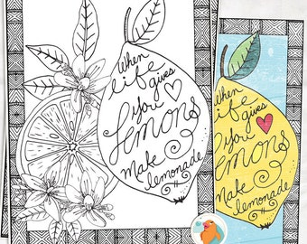 coloring page lemons to lemonade colouring sheet printable quote inspirational print instant download