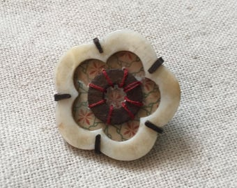 Mother of Pearl with Decorative Paper and Rusty Washer