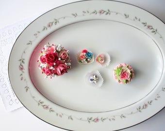 Large Vintage Serving Platter Rose China Sweet Love Pink Gray