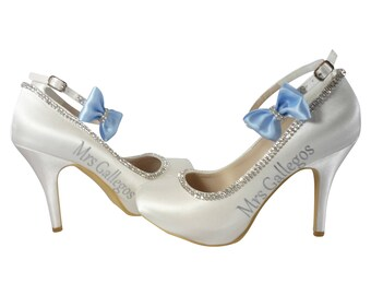 Something Blue Wedding Shoes With The Brides New Last Name And Cute Rhinestone Satin Bows On