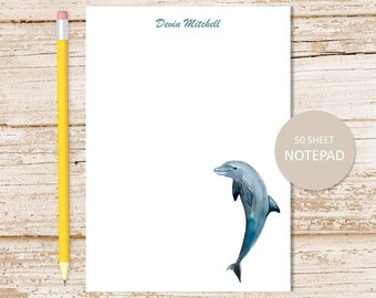 personalized notepad, note pad . dolphin notepad . watercolor dolphins . fish . personalized stationery . stationary gift
