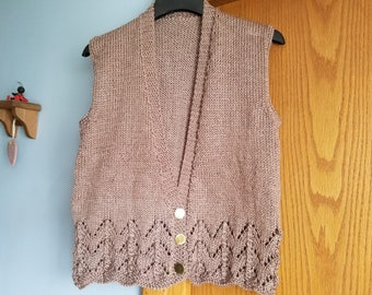 Hand Knitted V neck Button Vest
