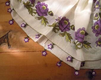 oya scarf, purple white needle lace