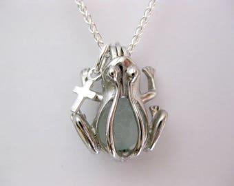 SS Frog Sea glass Necklace Cross Frog Seaglass Necklace Animal Jewelry Seaglass Jewelry Beach Glass Jewelry Handmade, Custom Jewelry