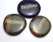 Happiness Worry Stone Palm Pocket Thumb Healing Metaphysical Meditation Crystal Natural Rock Success Balance Word