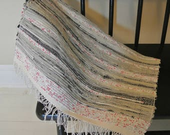 Hand Woven-Cotton/Cotton-Poly Blend-Rag Rug-Black-Gray-Red Print