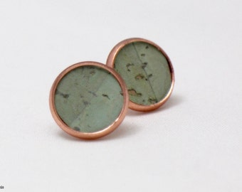 Earrings made of  cork leather, cork jewelry, cork earrings, unique jewelry, colour: mint/copper