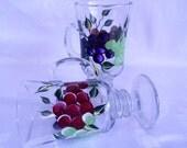 Coffee mugs, Hand painted mugs, painted mugs, pedestal mugs,set of two, hand painted mugs with grapes, kitchen decor