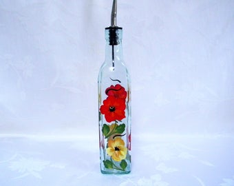 Oil decanter, oil bottle, hand painted oil decanter, painted poppies, soap dispenser, kitchen decor, for the kitchen, jars and containers