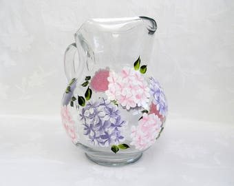 Serving pitcher, hand painted pitcher, pitcher with hydrangeas, painted pitcher, large pitcher, beverage pitcher