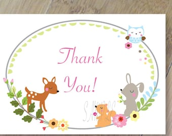 Little Forest Thank You Cards, Set of 10 Blank Folded, Professionally Printed, Forest Animal Thank You Card
