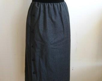 Vintage 80s Valentino Boutique Black Velvet & Gray Italian Wool Pencil Skirt