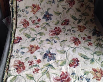 "Vintage Fabric, Floral Jacobean Style Textile, Double Sided Cotton Panel. 53""x 86"" Upholstery & Furnishings/ Home Decor Projects"