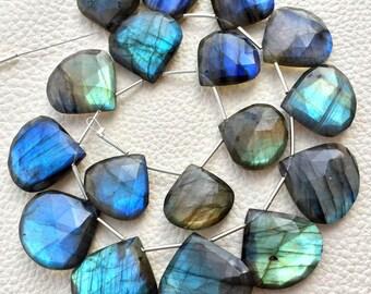 22-16MM Giant Size,Heart-Finest-Superb-BLUE FLASHY LABRADORITE Elongated Faceted Heart Shape Briolettes,