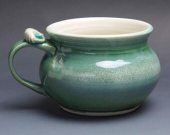 Handmade pottery soup mug ceramic chili mug cereal ice cream bowl jade green 20 oz  3904