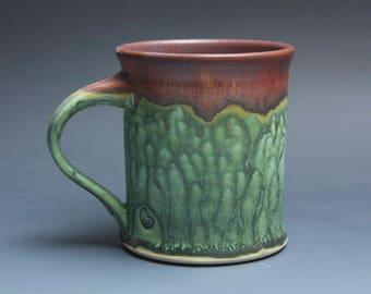 sale - Handmade pottery coffee mug tea cup 16 oz mottled green tea cup 3949