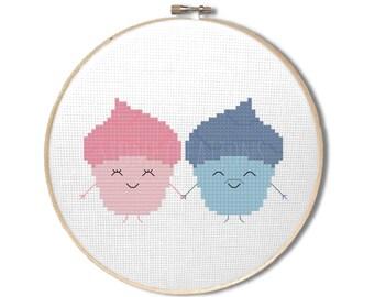 """Cupcake cross stitch pattern : """"Cute kawaii cupcakes"""" - cross stitch pdf pattern - INSTANT DOWNLOAD"""
