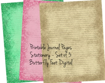 Printable Journal Pages, Lined Paper, Printable Stationery, Instant Digital Download