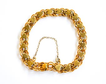 Vintage Gold Filled Heart Tennis Bracelet c.1940s