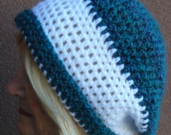 Slouchy crochet hat winter women's fashion ski accessories ski hat