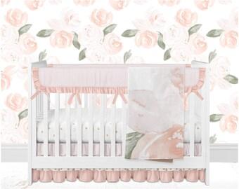 floral crib bedding rose cribset bumperless ruffle baby bedding blush crib bedding