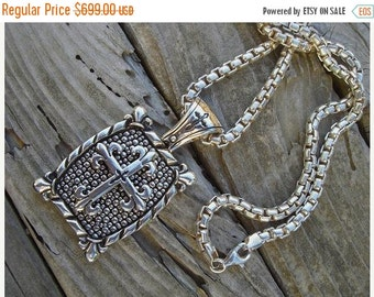 ON SALE Large and heavy cross necklace in sterling silver