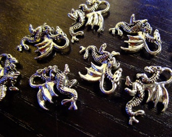 Destash (8) Detailed Dragon Charms - for pendants, jewelry making, crafts, scrapbooking