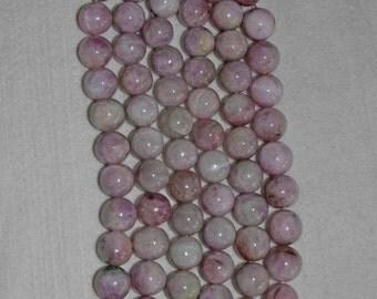 Kunzite, Kunzite Bead, Kunzite Smooth Bead, Natural Stone, Semi Precious, Lavender Kunzite, Opaque Kunzite, Half Strand, 14mm, AdrianasBeads