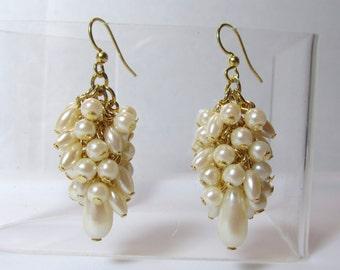 Pearl Cluster Earring, Long Pearl Dangle Earring, Ivory Pearl Cluster, Pearl Earring, Pearl Dangle, Dangle, Wedding, Bride, Bridesmaid, Gold