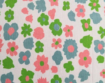 Vintage FABRIC 1940's  - Grass Green. Teal. Rose Pink Floral on White Background