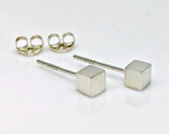 Men's stud earrings, sterling silver square cube stud earrings, stud earrings, cartilage earring, upper lobe earring, 4mm 465H