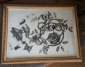 "Original Ink Drawing ""Butterflys and Roses"" by FRall"