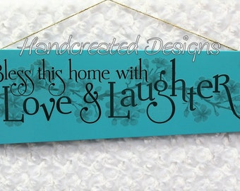 Upcycled Blue Fan Blade Wall Sign, Recycled Wall Hanging, Vinyl Bless This Home Quote, Repurposed Wall Decor, Handmade Wood Sign