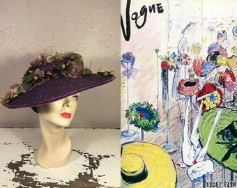 I'll Be Hat Shopping - Vintage 1930s Plum Purple Straw Wide Brim Hat Portrait Hat w/Massive Floral Arrangement