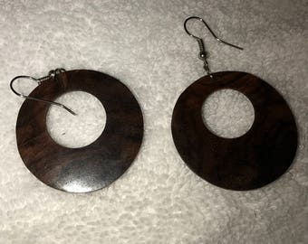 Wood Grain Circle Retro Style Pierced Earrings