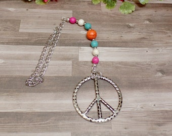 Colorful Howlite Peace Sign Rear View Mirror Charm - Car Charm