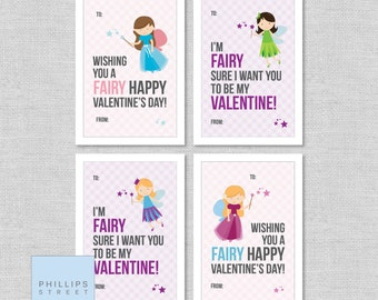 printed FAIRY valentine's day cards . kids Valentines cards . children's classroom valentines . customizable