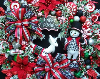 RESERVED     Christmas Winter Wreath Annalee Snowman  Reindeer Raz ornament