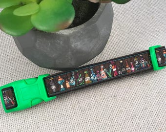 Small 3/4in Potions Class Shelves Dog Collars Neon Green Magic Hogwarts Snape