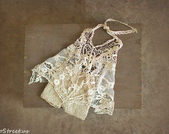 Newborn Props, Prop Dress and Pant Set, Baby Props, Baby Girl Lace Dress, Cream Dress ,RTS, Natural Props, Baby RTS, Vintage