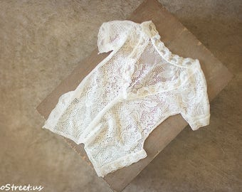 Lace Baby Girl Romper, Baby Girl Overalls, Ivory Lace Romper, Newborn Props, Girl Props, RTS, Natural PropsVintage, Backless Romper, RTS