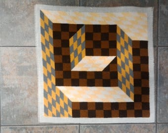 vintage finished  needlepoint,abstract,  retro decor,70's decor, orange gold brown gray, needlepoint 16 inches square